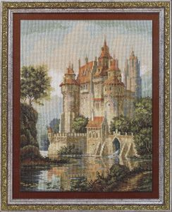 Вышивка крестом схема замок в горах