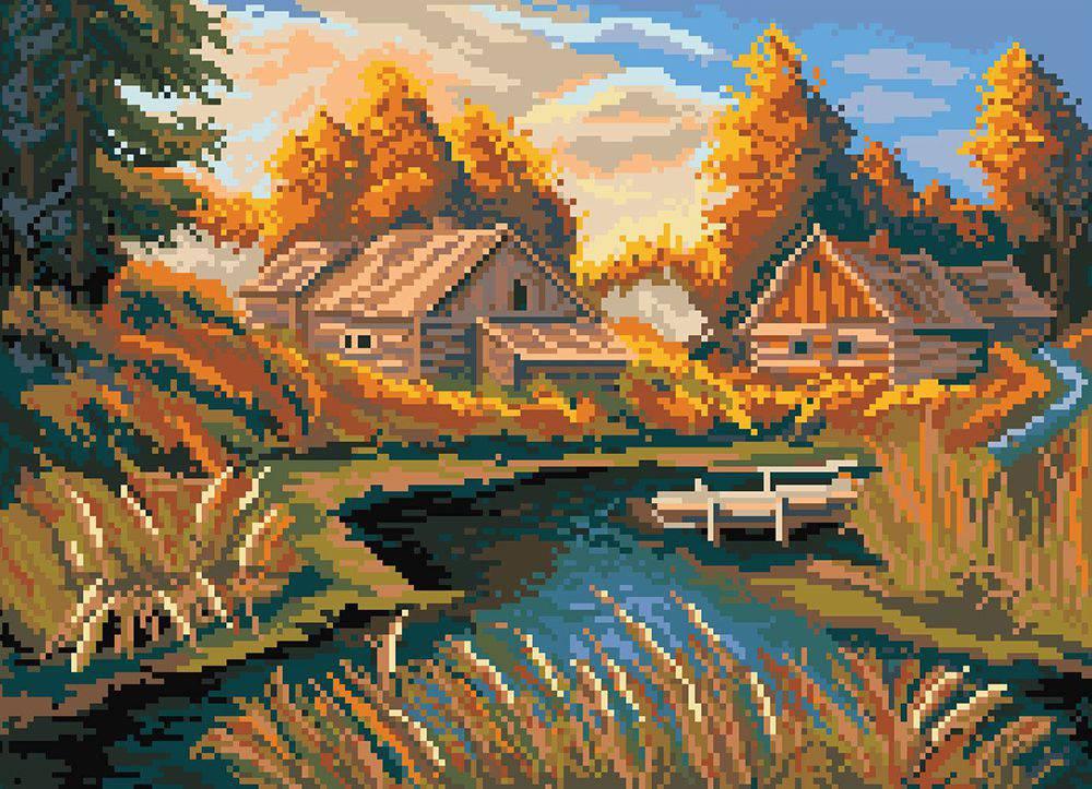 Осень в деревне 1872Н. Вышивка нитками > Матрёнин Посад ...
