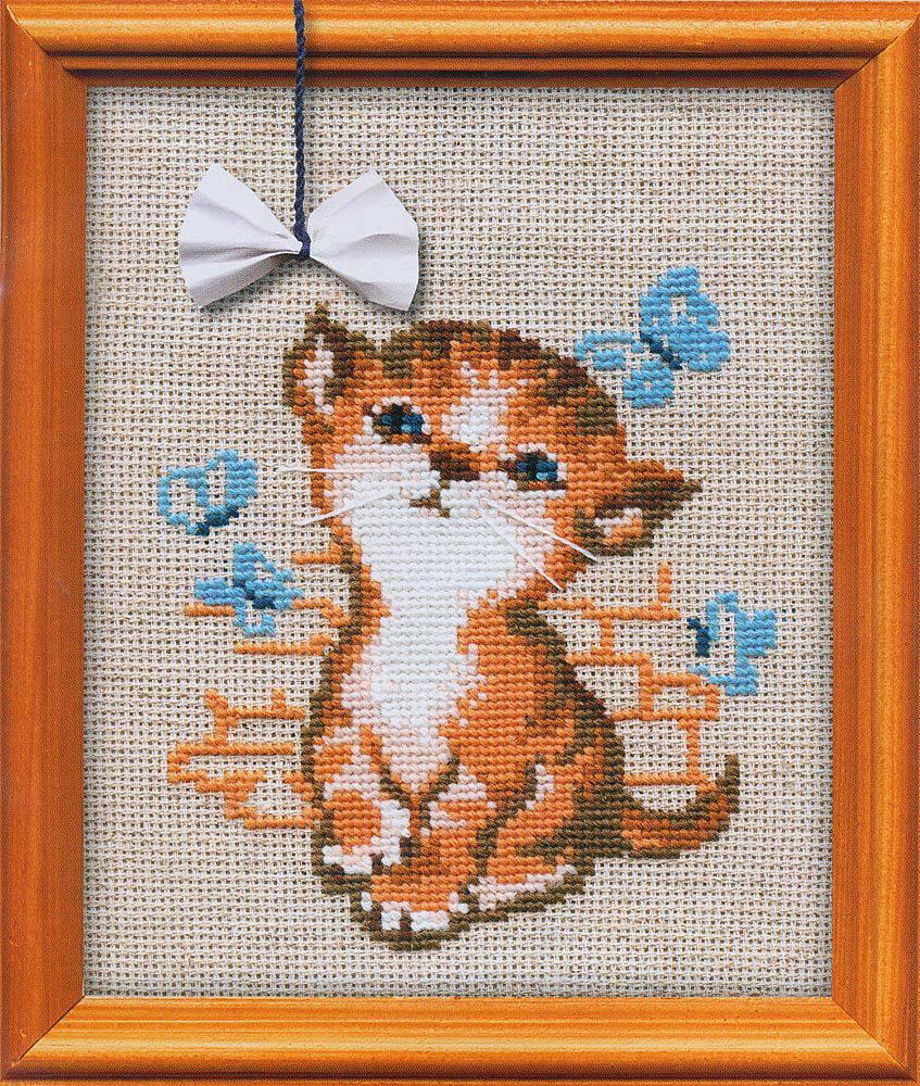 Котенок с бантиком 671. Вышивка нитками > Риолис > Животные.